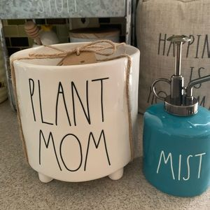Rae Dunn planter pot and mister